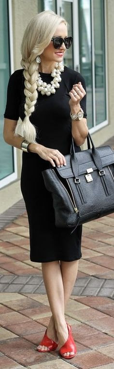 The dress, the shoes, and the bag. . .LOVE - A Touch Of Red -   A Spoonful Of Style | Via ~LadyLuxury~