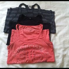 Tank top Bundle Stretch material.  comfortable and casual. Orange and black tanks have 1 small snag each. Tops Tank Tops
