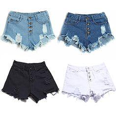 Women Spring Summer Fashion High-waisted Hole Shorts Ladies Casual Jeans Denim Edges Short Pants