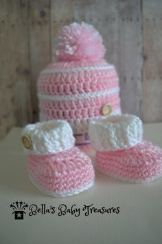 Booties and Beanie Set by BellasBabyTreasures on Etsy