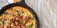 One Pan BLT Skillet Frittata is so easy to whip up for breakfast or brunch. All your favorite BLT flavors in one hearty, wholesome breakfast dish! One Pan BLT Skillet Frittata This One Pan BLT Omelettes, Quiches, Low Carb Recipes, Cooking Recipes, Healthy Recipes, Healthy Food, Healthy Eating, Bacon Recipes, Clean Eating