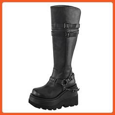 Womens Black Wedge Boots Knee High Shoes Studded Straps 4 1/2 Inch Platform Size: 9 - Boots for women (*Amazon Partner-Link)