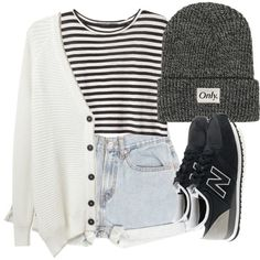 Outfit #55 - White Tank Top [Tuck-in] - Black and White Striped Crop Sweater - Black Belt - Light Blue Shorts - Long, Dark Gray Cable-Knit Cardigan - Gray Crochet Beanie - Black Converse