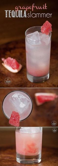 Make a quick and easy cocktail with one of winter's best fruits and enjoy a refreshing Grapefruit Tequila Slammer. #Cocktails