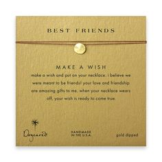 best friends sand dollar necklace on tobacco, gold dipped