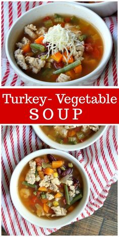 Recipe for Turkey Vegetable Soup. A hearty soup made with ground turkey, added vegetables, tomato, beans and spices. Nutritional information and Weight Watchers Points included. Turkey Vegetable Soup, Vegetable Soup Healthy, Turkey Soup, Vegetable Soup Recipes, Vegetable Gardening, Healthy Food List, Healthy Eating Recipes, Side Dish Recipes, Dinner Recipes