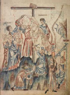 Снятие со креста; Англия; XIV в.; памятник: Библия (Bible ('Holkham Bible Picture Book'). 1327-1335гг