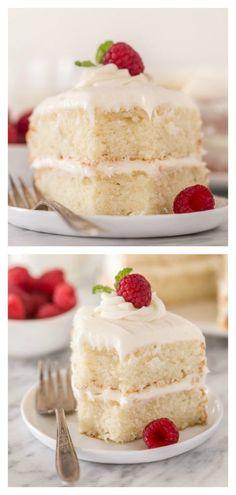 Best White Cake Recipe! Finally a homemade white cake recipe that tastes like it's from the bakery!!! #whitecake #cake #whitelayercake #weddingcake #dessertrecipes