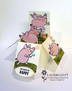 This Little Piggy Box card! Z Cards, Step Cards, Kids Cards, Card In A Box, Pop Up Box Cards, Stampin Up Karten, Stampin Up Cards, Happy Birthday Gorgeous, This Little Piggy