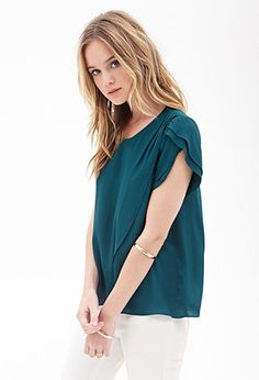 Tulip Front Top | FOREVER 21. The blue- green color is perfect for a warm fall day.