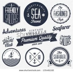 Collection of Vintage Nautical Badges and Labels in Retro Style by butterflycreative, via ShutterStock