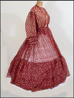 Feather Pattern Sheer wool dress c. 1860. It got it on eBay a few years ago.