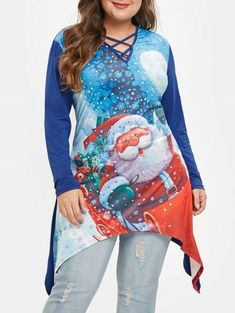 Plus Size Asymmetric Crisscross Graphic Tunic Christmas Tee Plus Size Blouses, Plus Size Tops, Plus Size Women, Family Christmas Outfits, Christmas Ideas, Plus Size Sale, Fashion Seasons, Cut Shirts, Long Tops