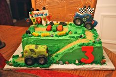 Hand made monster trucks, hay bales etc..out of sugar paste.