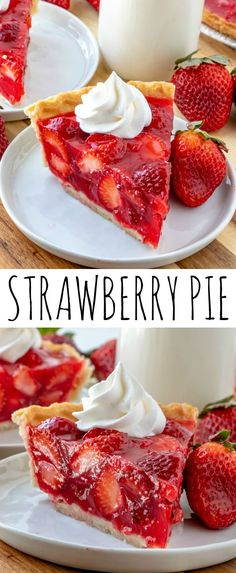 Easy, delicious and bursting with flavor this Strawberry Pie is an old-fashioned recipe that has minimal ingredients, intense strawberry flavor and absolutely addicting. via recipes Strawberry Pie - The Most Addicting Pie Ever Just Desserts, Delicious Desserts, Yummy Food, Easy Delicious Recipes, Vegan Desserts, Dessert Oreo, Dessert Food, Appetizer Dessert, Dessert Healthy
