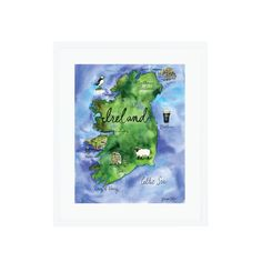 A colorful illustrated map of Ireland.  Gallery quality Giclée print on 100% cotton rag, acid- free, archival Fine  Art Bright White Paper. Custom trimmed with .25″ border for framing.  Print does not come matted or framed.  Interested in a custom map? Check out the commission process here and  examples of past work here!  Copyright does not transfer with sale. Artist retains all reproduction  rights. © Lauren Taylor Creates, 2016