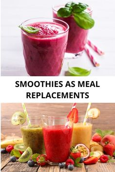 Can you use Smoothies as meal replacements? I have good news! Smoothies are a great idea to load your body with nutrients, to help you lose weight and boost you full of energy! #smoothies Energy Smoothies, Vegan Smoothies, Fruit Smoothies, Smoothie Recipes, Beet Smoothie, Ginger Smoothie, Vegan Dessert Recipes, Healthy Recipes, Meal Replacements