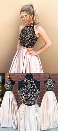 Two Pieces Beading A-Line Prom Dresses,Long Prom Dresses,Cheap Prom Dresses,