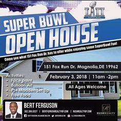 The road to the Superbowl has begun! If you can't make it to Minnesota to tailgate, come out February 3rd to the first Superbowl Open House hosted by Bert Ferguson,Delaware Realtor. Get ready for some football and find out while Ashburn homes are some of the best built homes around. Bring the family, play some games and have a good time in what could be your future home or neighborhood! #delaware #realestate #superbowl #realtorlife #openhouse #localrealtors - posted by Marcus Rush…