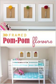 girls bathroom?? colors to match other linens  Framed Pom-Pom Flowers (wall decor) -- Make It and Love It
