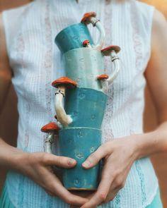 Keramik Blue Mushroom Mug / Handmade Mug / Tableware / Forest Cup / Tea Cup / Handmade Mug . Pottery Mugs, Ceramic Pottery, Pottery Art, Ceramic Clay, Porcelain Ceramics, Clay Crafts, Arts And Crafts, Ceramics Projects, Ceramics Ideas
