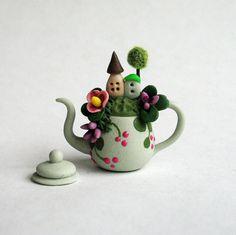 Miniature  Cute Fairy House Scene In Teapot  by ArtisticSpirit