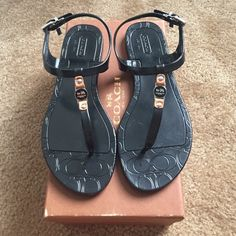 Coach jelly sandals Leather accents and distinctive custom hardware add an unexpectedly luxurious touch to this striking jelly sandal: an exceptionally pretty warm-weather style with an adjustable ankle closure for a secure fit. Coach Shoes Sandals
