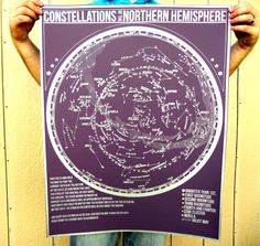 NEW - Constellations of the Northern Hemisphere star chart - hand pulled large screen print 22x28 inch Astronomy Poster. $54.00, via Etsy.