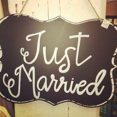 """Just Married"" sign from Something Sweet Vintage Boutique in Kansas City. www.Facebook.com/somethingsweetkc"