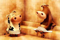 Cartoon Art: Two Oxens Sauna - Concept art, Illustrations, PhotoshopCoolvibe – Digital Art Cgi, Cow Wallpaper, Character Art, Character Design, Cow Pattern, Cow Art, Unusual Animals, Sauna, 3d Max