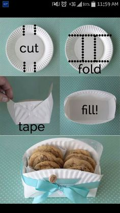 Use a paper plate for a cute, easy and cheap basket for cookies or whatever you want!