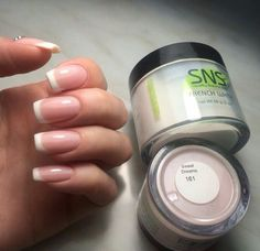 Sns french manicure getting my nails done in great falls :) sns dip powder Frensh Nails, Nexgen Nails Colors, Nail Manicure, Fun Nails, Hair And Nails, Acrylic Nails, Cnd Shellac, Glam Nails, Make Up