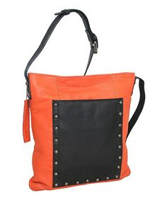 Look at this #zulilyfind! Orange & Black My Studs Leather Crossbody Bay by Nino Bossi Handbags #zulilyfinds