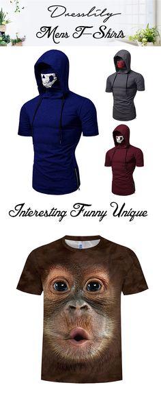 dfe51297cc50 Dresslily funny mens t-shirts for you, skull mask hooded short Ssleeve t-