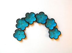 Laguna blue cabochon flowers Leather flowers by HMCreativeSupplies, $5.99