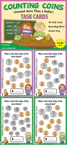 There are forty (40) task cards in this set that you can use to practice or review your students on how to count coins with amounts more than a dollar.