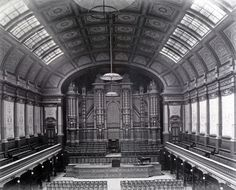 interior of the old smaller Melbourne Town Hall auditorium that was destroyed by fire in 1925.