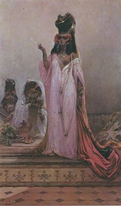 Harem Woman Smoking, Georges Jules Victor Clairin  via