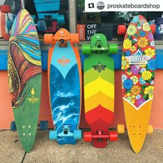 What is your favorite style?? - These and much more available @proskateboardshop in New Jersey! If you are around Belmar make sure you stop by! - Boards: #DustersGoFish #DustersKosher Retro #DustersWake mini & #DustersCruisin