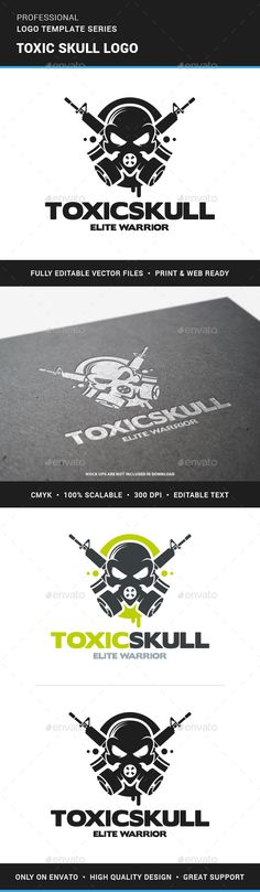 Toxic Skull Logo Template — Photoshop PSD #gamer #psd • Available here → https://graphicriver.net/item/toxic-skull-logo-template/13395647?ref=pxcr