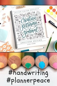 Finally a lettering journal I can practise my handwriting in. With tips on how to prevent mistakes, make my brush strokes clean and pretty and journal prompts so I know what to write about. Perfect gift for my #plannergirl sister! #handwriting #plannerpeace #giftsforher #carlijnsbujochoices Planner Tips, Planner Pages, Happy Planner, Planner Supplies, Bullet Journal Layout, Bullet Journal Inspiration, Bullet Journals, How To Start Journal, Gratitude