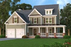 2,489 Square Feet 3 bed/2+ bath Best Selling House Plan, Country, Porch