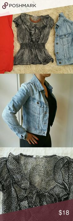 3:Jacket+Top+Cardigan 3 Pieces:  - ILOVEH81 denim jacket in sz P/S. Excellent condition. Color: light wash.  - Black print ruffled top. Short sleeve. Elastic details at waist. Tie in front. Sz Small.  - Wool cardigan. Bright pumpkin. Two small front pockets. Button V front.  These 3 items are bundled in this listing. Each item is also available separately (so long as this bundle isnt purchased first). Tops