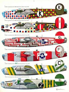 "Bomber ""box"" formations allowed guns in each aircraft to protect vulnerable blind spots on the other airplanes in the group. The formation was vital for defense. Assembly Ships were older aircraft, usually having completed their schedule of active sorties, which were painted in bright colors and patterns to be highly visible. As bombers launched from their many fields they would line up behind these Assembly Ships to create their formations. (Consolidated-B-24 Liberator)"