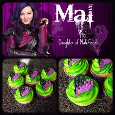 Descendants Mal cupcakes - use white candy melts to pipe and colored sprinkles to color. Do all purple sides first and sprinkle, then black side