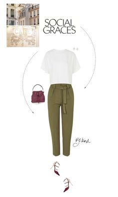 """""""Khaki Paperbag Peg Trousers."""" by xabbielou ❤ liked on Polyvore featuring Topshop, River Island, women's clothing, women's fashion, women, female, woman, misses and juniors"""