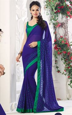Picture of Ravishing Blue Color Georgette Saree