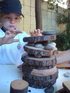 Block Center- Add natural earth-made materials. Ideas: tree blocks, tree rounds,  sticks, rocks, leaves