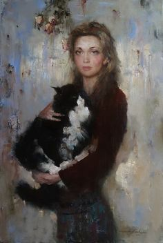 Andrey Kartashov ~ Young girl with her cat