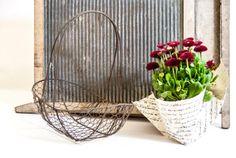 Rustic wire basket / rustic mesh basket / wire egg basket /